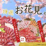 この春限定の新商品!馬刺しの花見盛り350g(4〜5人前)3,240円!!
